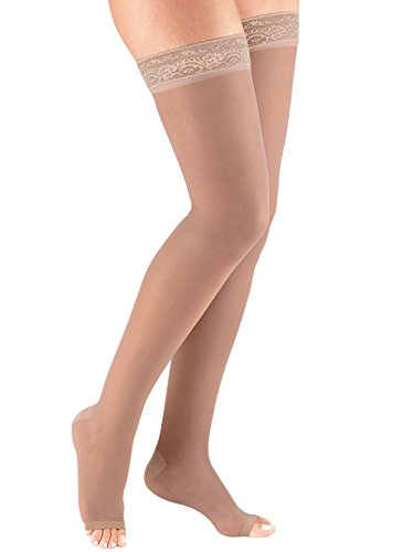 Thigh-High Compression Stockings, Color Beige, Size Medium by Dr. Leonard's
