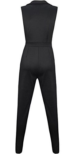 FANCYINN Women Zipper Front V-neck Bodycon Club Long Jumpsuit Romper Black S