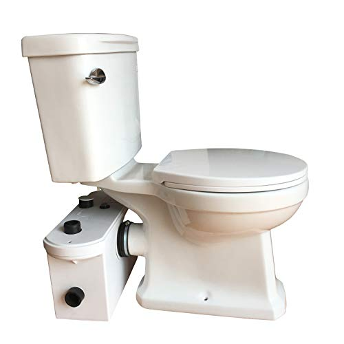 Sanimove 600W Macerator Pump Toilet Three Piece Round Bowl Toilet with Macerating Pump Macerating Upflush Toilet Kit Macerating ()