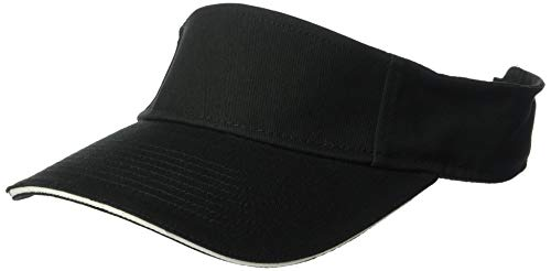 Brushed Twill Cotton Sandwich (Clementine Men's ULTC-8113-Classic Cut Brushed Cotton Twill Sandwich Visor, Black/White, One Size)