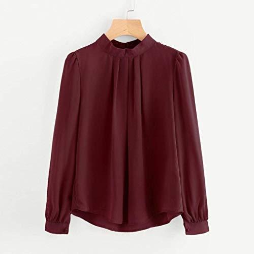 Pieghe Button Camicie Collo Monocromo Autunno Bluse Basic Moda Donna Primaverile Manica Eleganti Shirts Shirt Bianca Casual Moda O di Lunga Blusa Ragazza OFC0OqwW
