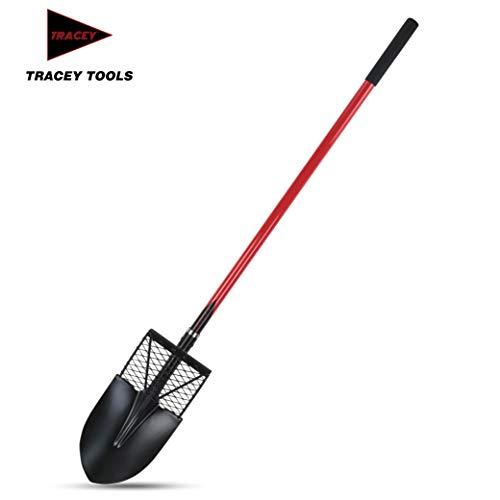 Tracey Garden Shovel with Long Fiberglass Handle for Digging, Transplanting and Gardening Round Point Spade Smart Shovel Design Tools (Shovels Fiberglass)