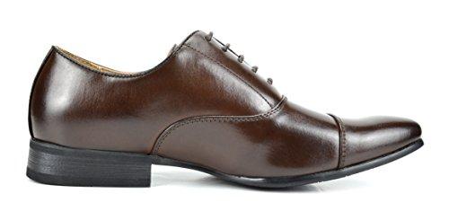 Bruno Marc New York Bruno Marc Cuir Doublé Snipe Robe Orteil Chaussures Oxfords 6-brun Foncé