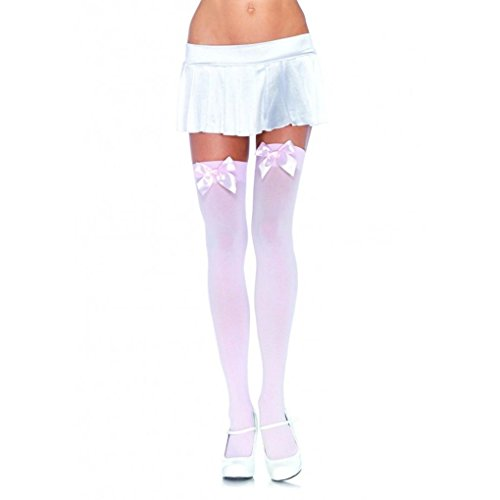 Mememall Fashion Leg Avenue Opaque Thigh Highs With Satin Bow Accent Womens Girls Sexy Stockings (Pink Power Ranger Toddler Costume)