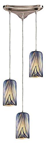 - Molten 3 Light Pendant in Satin Nickel and Molten Ocean Glass