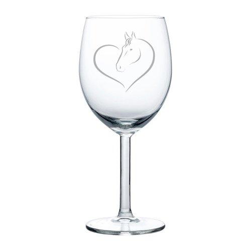 Wine Glass Goblet Heart Horse (10 oz)
