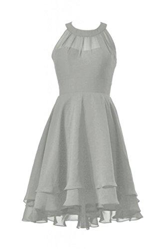 DaisyFormals Halter Short Bridesmaid High Chiffon Dress Prom Dress gray 55 CST2225 Low gwqOxXrg