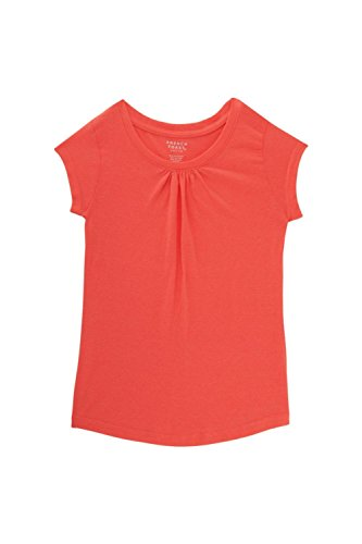 French Toast Little Girls Short Sleeve Crewneck Tee, Fiery Coral, 6