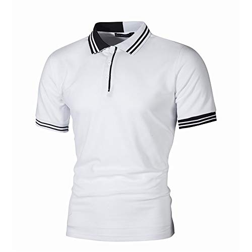 RoDeke Summer Men's Short Sleeve Casual Slim Simple Striped Button Solid Color Running Shirts Polo Shirt White ()