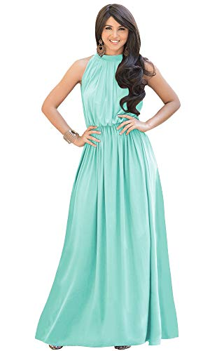 KOH KOH Womens Long Sexy Sleeveless Bridesmaid Halter Neck Wedding Party Guest Summer Flowy Casual Brides Formal Evening A-line Gown Gowns Maxi Dress Dresses, Light Mint Green L 12-14