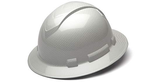 Pyramex Ridgeline Full Brim Hard Hat, 4-Point Ratchet Suspension, Shiny White Graphite Pattern