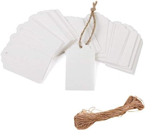 Depory 100 weiße Kraftpapieranhänger für Hochzeiten, Geschenkanhänger, Geschenkanhänger, Gepäckanhänger, Preisetiketten