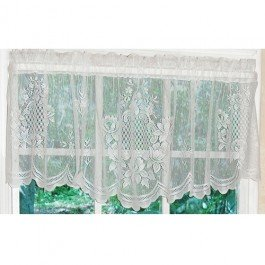 Curtain Chic Cameo Rose Valance, Ivory - Cameo Garden