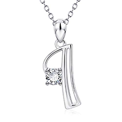 Necklace Women Genuine 925 Sterling Silver 26 Capital Letters AAA CZ Initials Name Pendants Necklaces Fashion Jewelry Best Gifts I (Mlb Necklace Genuine)