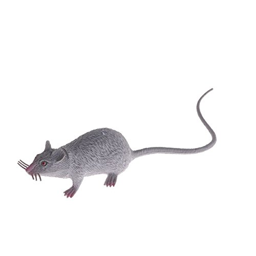 giveyoulucky 1Pc Plastic Fake Artificial Rats Mouse Model Figures Kids Halloween Tricks Pranks Props Toy - Gray ()