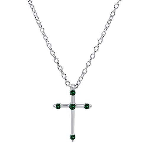 Dazzlingrock Collection 18K Round Lab Created Emerald Ladies Cross Pendant (Gold Chain Included), White Gold