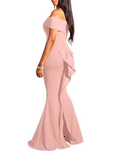 LAGSHIAN Women Elegant Back Ruffles Sexy Off Shoulder Gown Maxi Evening Party Mermaid Dress Pink
