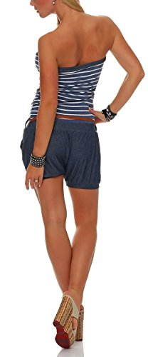 Unique Combinaison La Casual Femmes Marina Le Courte Taille 9646 Dans Body Design Catsuit De Bleu Combishort Malito RCqZw