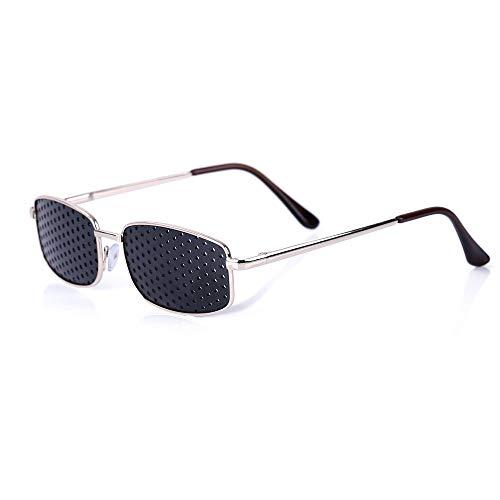 Pinhole Glasses,Sorliva Metal Frame Pinhole Glasses Eyewear Eyesight Vision Improve Training Reading Glasses