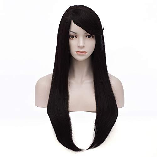 Tsnomore 24 inches Yaki Fiber long straight Natural Black Side Part Women Wig