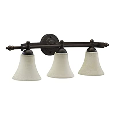Quorum International 5077-3-86 Aspen Collection 3-Light Vanity Fixture, Oiled Bronze Finish with Linen Glass Shades