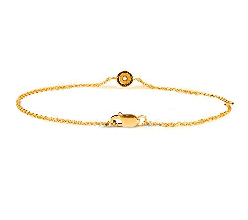Or Jaune 18 ct Bracelet Diamant en forme de rond, 0.04 Ct Diamant, GH-SI, 2.82 grammes.