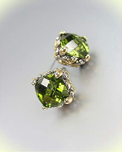 - Designer PETITE Silver Gold Balinese Filigree Olive Green CZ Crystal Earrings For Women Set