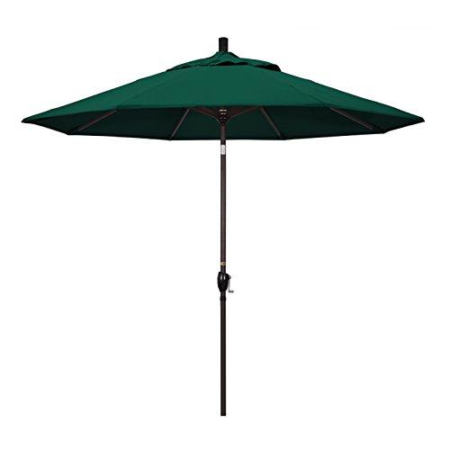 California Umbrella 9' Round Aluminum Market Umbrella, Crank Lift, Push Button Tilt, Bronze Pole, Sunbrella Forest Green