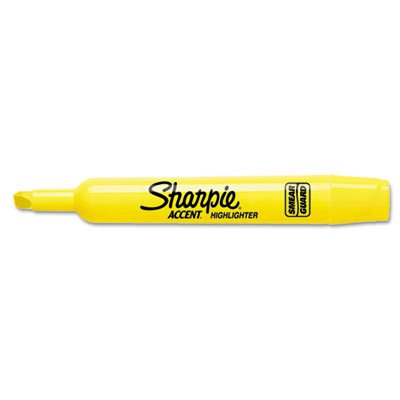 Chisel Point Yellow Ink - Sharpie Major Accent Highlighter - Marker Point Style: Chisel - Ink Color: Yellow - Barrel Color: Yellow - 12 / Dozen