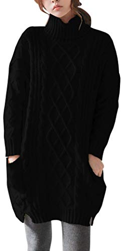 Liny Xin Women's Cashmere Knitted Turtleneck Long Sleeve Winter Wool Pullover Long Sweater Dresses Tops (M, Black)