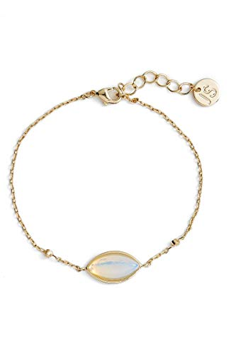 (Jules Smith 14k Gold Bracelet for Women – Opal Moonstone Bracelet with Dainty Adjustable Chain for Perfect Sizing – Real Gold Plated Bracelet with CZ Crystals)