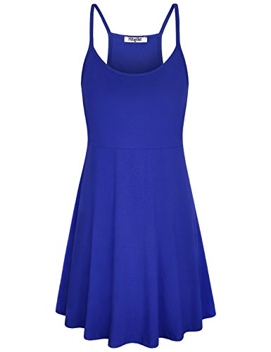 Hibelle High Waist Dress, Ladies Cami Sleeveless Casual Wear Summertime Vocation Skater Halter Spaghetti Strap Sundress Chic Strappy Racerback Shift Camisole Royal Blue Large (Dress Sleeveless Halter Shift)