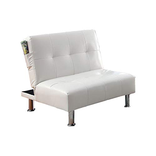 Benzara BM131500 Leatherette Convertible Sofa, White Bulle Contemporary Chair