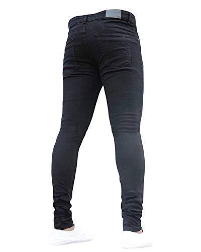 Fit Regular Uomo Ragazzo Base Di Da Elasticizzati Ssiger Stile Casual Pantaloni Jeans Nero FnU8qUg