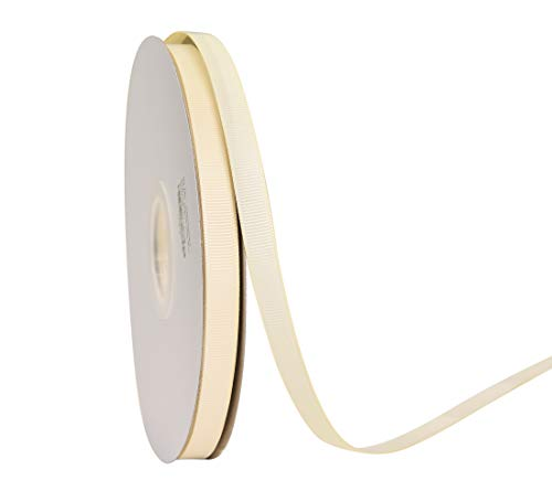 """YAMA Solid Grosgrain Ribbon - 3/8"""" 50 Yards Per Roll for Gift Package Wrapping,Floral Design,DIY Hair Bow Making,Crafting,Sewing,Wedding Decor,Boy Girl Baby Shower, Ivory from YAMA"""