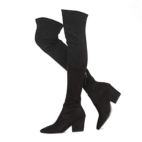 Duketime Women's Chunky Heel Back Zipper Sexy Pointed Toe Over The Knee Thigh High Boots