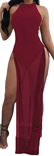 Claret Maxi Dress Sexy Women's Split Sleeveless Mesh Stitch Backless Cromoncent zq4gHwq