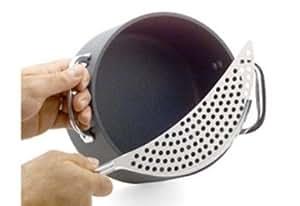 "Stainless Steel 14"" Crescent Pot Strainer Colander Fry Drainer Pots Pans Bowl"