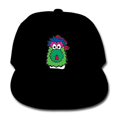 Philadelphia Baseball Fan Phillie Phanatic Kids Baseball Cap Washed Solid Sun Hat for Children Black ()