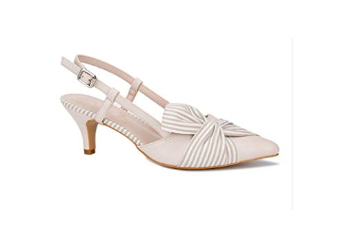 Women High Heels Pointed Toe Pumps Style Butterfly Knot Party Dress Shoes for Office Lady,Beige,9