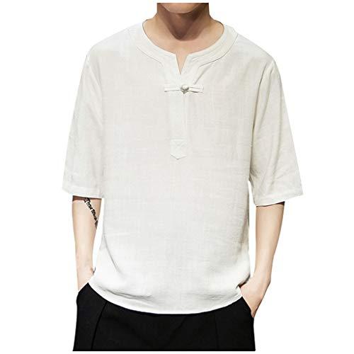 (Men's Vintage Linen Patchwork Half Sleeve T-Shirt Comfort Tops Blouse White)