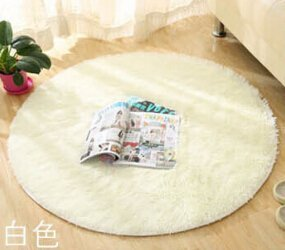 SVI Top Finel Hot High Quality Floor Mats Modern Shaggy Round Rugs and Carpets for Living Room Bedroom Carpet Rug for Home Yoga Mat creamy white 80cmx80cm
