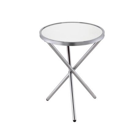 (ModHaus Living Mid Century Modern Glass Metal Round Side End Table with Triple Cross Leg - Includes Pen (Mirror Top and Chrome)