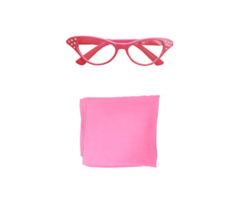 - 50s Costume Accessory Set Chiffon Scarf and Cat Eye Glasses for Women (Hot Pink 2pc)