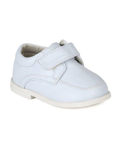 Auston AH58 Leatherette Velcro Strap School Dress Shoe (Infant / Toddler Boys) - White (Size: Infant (Leatherette Strap)