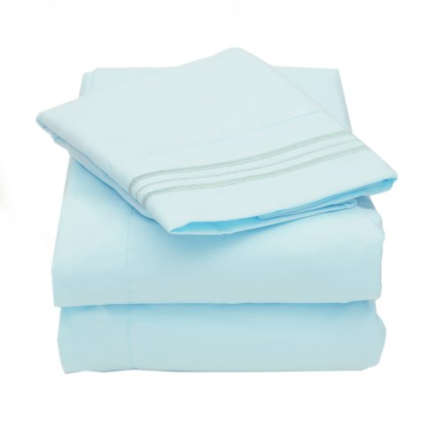Sweet Home Collection 4 Piece 2000 12 Colors Collection Egyptian Quality Deep Pocket Bed Sheet Set, Queen, Light Blue