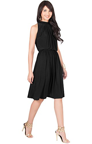 KOH KOH Plus Size Womens Sleeveless Bridesmaid Halter Neck Flowy Wedding Party Work Knee Length Day Formal Dressy Summer Casual Sexy Sundress Mini Midi Dress Dresses, Black XL 14-16 ()