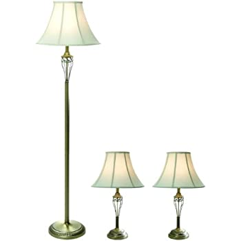 Elegant Designs LC1001 ABS Three Pack Lamp Set (2 Table Lamps, 1 Floor Lamp),  Antique Brass