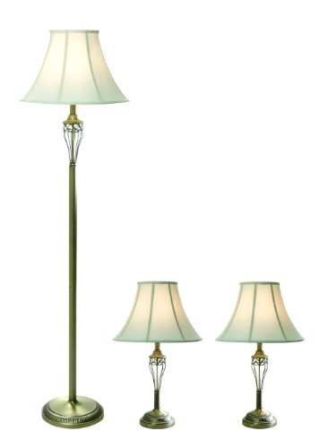 Elegant Designs LC1001-ABS Three Pack Lamp Set (2 Table Lamps, 1 Floor Lamp), Antique - Tiffany Jewelry Amazon