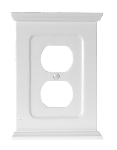 - Amerelle Mantel Single Duplex Wood Wallplate in White